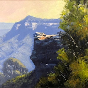 (CreativeWork) Blue Mountains View by John Rice. oil-painting. Shop online at Bluethumb.