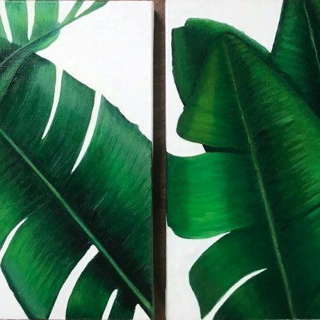 (CreativeWork) Palm Diptych by Trace Knowland. Oil Paint. Shop online at Bluethumb.
