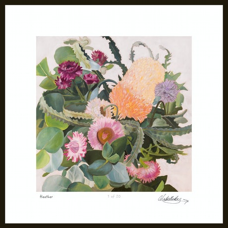 (CreativeWork) Heather Flower my artwork limited edition print 1 of 20 Ed. 1 of 20 by Celeste Muskas. Reproduction Print. Shop online at Bluethumb.
