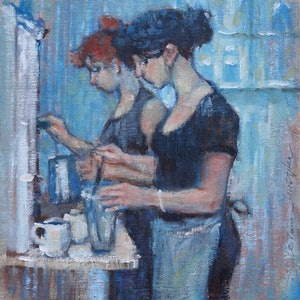 (CreativeWork) Cafe by Lorraine Lewitzka. oil-painting. Shop online at Bluethumb.