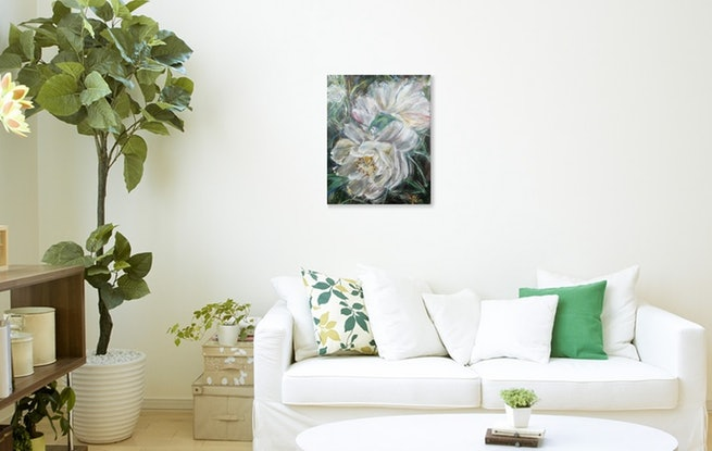 (CreativeWork) MEET ME AT FRONT YARD - While Camellia by HSIN LIN. Acrylic Paint. Shop online at Bluethumb.
