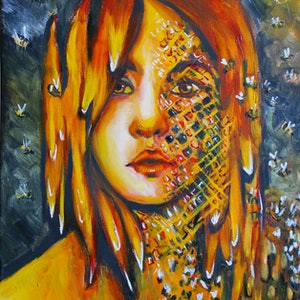 (CreativeWork) Queen Bee by Rebecca Read. oil-painting. Shop online at Bluethumb.