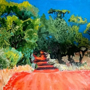 (CreativeWork) Red Road by Rebecca Read. arcylic-painting. Shop online at Bluethumb.