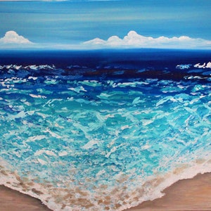 (CreativeWork) Turquoise Waters by Wendy Hocking. arcylic-painting. Shop online at Bluethumb.