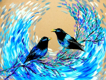 (CreativeWork) Bower Birds by Cathy Snow. arcylic-painting. Shop online at Bluethumb.