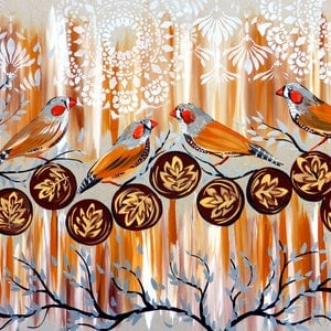 (CreativeWork) Zebra Finches and Coffee by Cathy Snow. acrylic-painting. Shop online at Bluethumb.