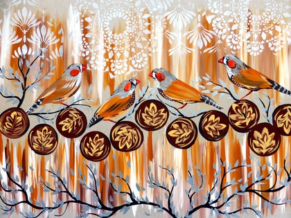 (CreativeWork) Zebra Finches and Coffee by Cathy Snow. arcylic-painting. Shop online at Bluethumb.