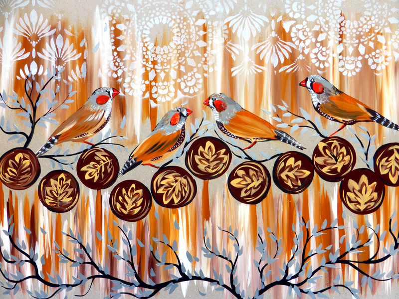 (CreativeWork) Zebra Finches and Coffee by Cathy Snow. Acrylic Paint. Shop online at Bluethumb.
