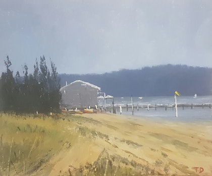 (CreativeWork) The Boathouse,Palm Beach NSW.  by Terrence Dower. arcylic-painting. Shop online at Bluethumb.