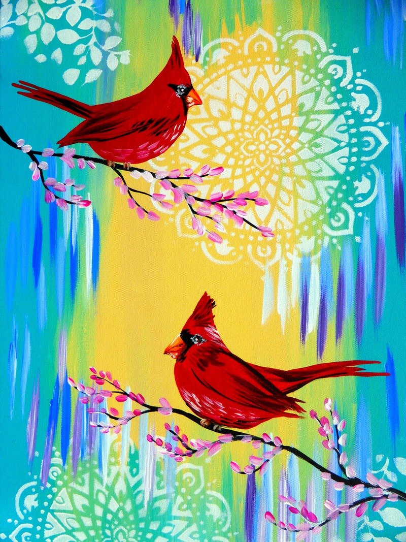 (CreativeWork) Red Cardinal Birds on canvas- arrives rolled in a tube by Mark Humphries. arcylic-painting. Shop online at Bluethumb.