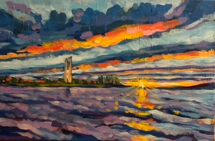 Study of the Lake Burley Griffin, Carillon and Sunset