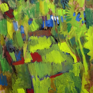 (CreativeWork) See the ocean through the trees (Green landscape) by John Graham. mixed-media. Shop online at Bluethumb.