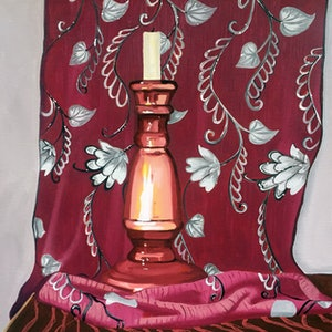 (CreativeWork) Pink candlestick and Thai silk by Sandra Jenkins. oil-painting. Shop online at Bluethumb.