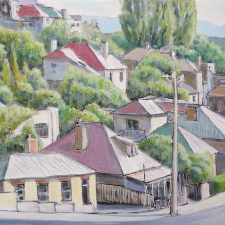 (CreativeWork) Goulburn Street, West Hobart by Michael Bessell. Oil Paint. Shop online at Bluethumb.