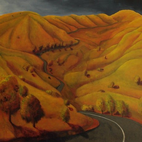 (CreativeWork) The Road to Glennie's by Adam Fisher. Acrylic Paint. Shop online at Bluethumb.