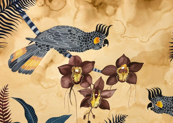 (CreativeWork) Yellow Tailed Black Cockatoos and Brown Cymbidium Orchids by Sally Browne. #<Filter:0x00007f48206de7b8>. Shop online at Bluethumb.