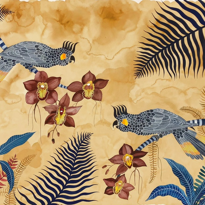 (CreativeWork) Yellow Tailed Black Cockatoos and Brown Cymbidium Orchids by Sally Browne. #<Filter:0x00007fef2e158fb8>. Shop online at Bluethumb.