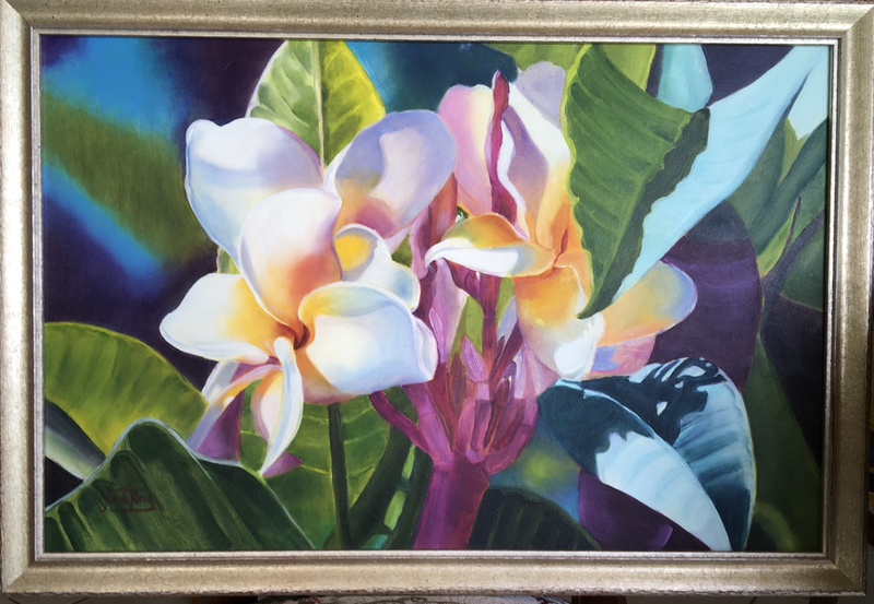 (CreativeWork) Plumerias  by June king. Oil Paint. Shop online at Bluethumb.
