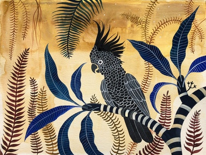 (CreativeWork) Black Cockatoo Sandstone Forest by Sally Browne. watercolour. Shop online at Bluethumb.