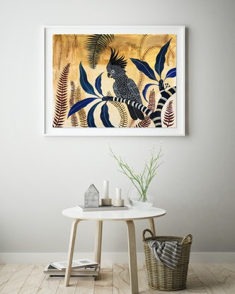 (CreativeWork) Black Cockatoo Sandstone Forest by Sally Browne. #<Filter:0x000055fa3d56a990>. Shop online at Bluethumb.