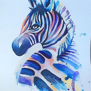 (CreativeWork) Zebra Print by Serena Green. watercolour. Shop online at Bluethumb.