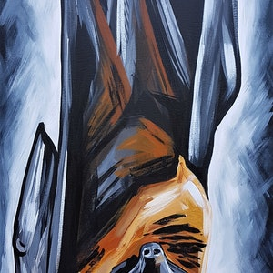 (CreativeWork) Fruit Bat  by Lisa Fahey. arcylic-painting. Shop online at Bluethumb.