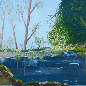 (CreativeWork) AT THE CREEK.OIL ON CANVAS. by owen jones. oil-painting. Shop online at Bluethumb.