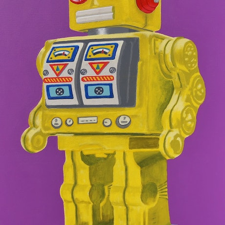 (CreativeWork) The Yellow Tin Robot by BRETT ROSE. Acrylic Paint. Shop online at Bluethumb.