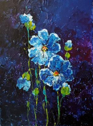 (CreativeWork) Blue Zone by Helen Miles. Acrylic Paint. Shop online at Bluethumb.
