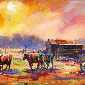(CreativeWork) Herding the Cattle by Jos Coufreur. acrylic-painting. Shop online at Bluethumb.