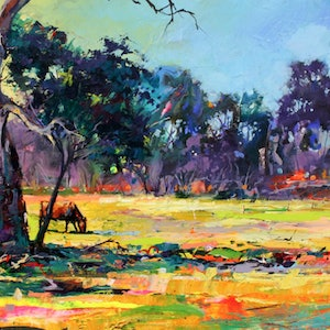 (CreativeWork) Grazing Cattle by Jos Coufreur. arcylic-painting. Shop online at Bluethumb.