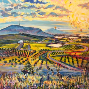 (CreativeWork) Bouncing Souls of the National Arboretum Canberra by Valentyna Crane. arcylic-painting. Shop online at Bluethumb.