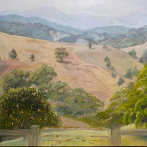 (CreativeWork) Beyond the Gate by Kerry Ann Harvey. oil-painting. Shop online at Bluethumb.