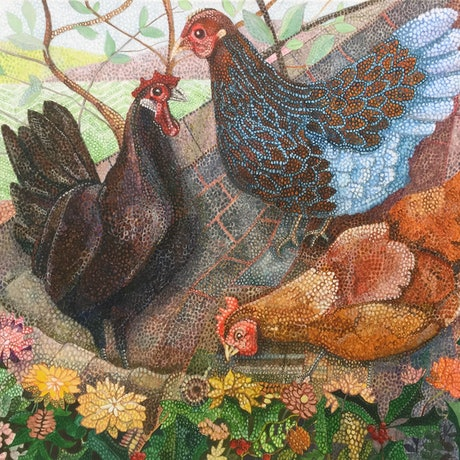 (CreativeWork) Chooks by Christopher O'Hare. Acrylic Paint. Shop online at Bluethumb.