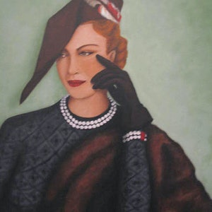 (CreativeWork) Deco Lady by Maureen McManamny. arcylic-painting. Shop online at Bluethumb.