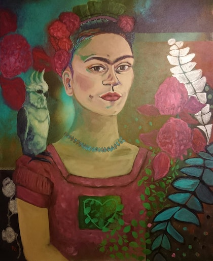 (CreativeWork) Frida with Australian Fauna and Flora by Paola Ditel. arcylic-painting. Shop online at Bluethumb.