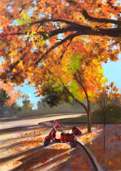 (CreativeWork) The red bike by Shelly Du. arcylic-painting. Shop online at Bluethumb.