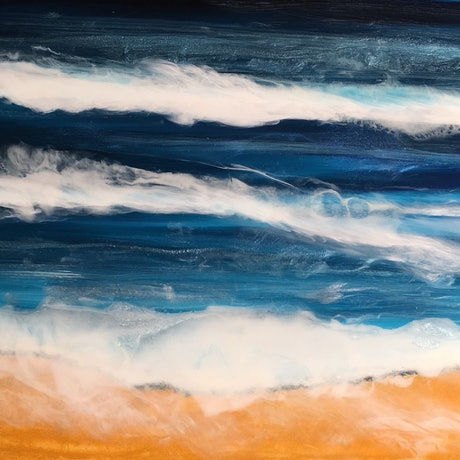 (CreativeWork) Oceanscape 70x40cm SOLD by Di Parsons. Resin. Shop online at Bluethumb.
