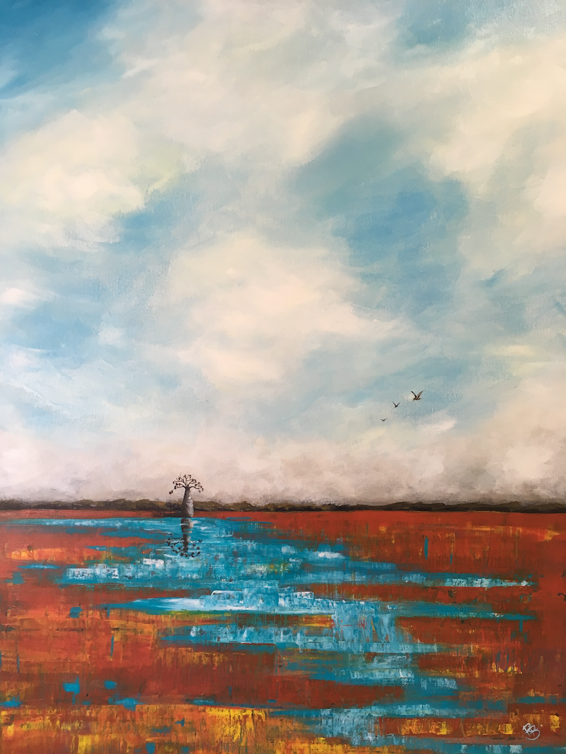 (CreativeWork) Wet day in the Kimberley by Rhonda Bryars. arcylic-painting. Shop online at Bluethumb.
