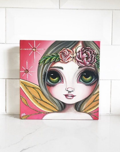 """(CreativeWork) Original Fairy Painting """"Peony Rose Shimmer"""" by Jaz Higgins  by Jaz Higgins. arcylic-painting. Shop online at Bluethumb."""