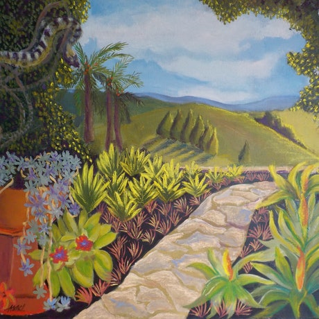 (CreativeWork) Through the Arch by Kerry Ann Harvey. Oil Paint. Shop online at Bluethumb.