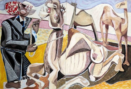 The Camel Man Early work dating to 1988 (Diptych painted in Egypt)