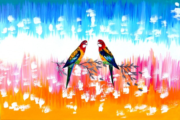 (CreativeWork) Australian rosellas by Cathy Jacobs. Acrylic Paint. Shop online at Bluethumb.
