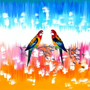 (CreativeWork) Australian rosellas by Cathy Jacobs. arcylic-painting. Shop online at Bluethumb.