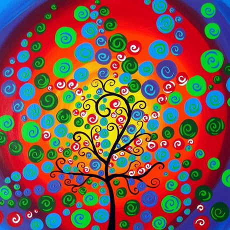 (CreativeWork) Uplifting circle tree by Cathy Jacobs. Acrylic Paint. Shop online at Bluethumb.