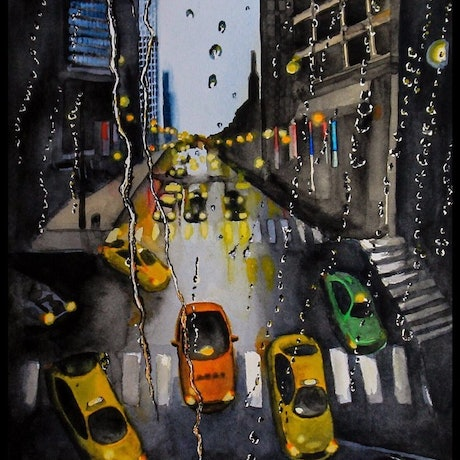 (CreativeWork) City Lights ( limited, signed prints ) 20  by Apostolos Gkantinas. Watercolour Paint. Shop online at Bluethumb.