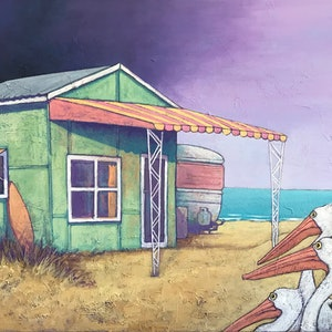 (CreativeWork) Surf Shack by Mary Conder. arcylic-painting. Shop online at Bluethumb.