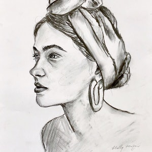 (CreativeWork) Woman in headband  by Holly Harper. drawing. Shop online at Bluethumb.