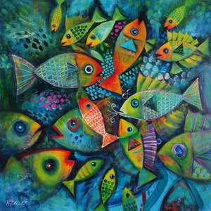 (CreativeWork) Plenty fish in the sea 2 by Karin Zeller. arcylic-painting. Shop online at Bluethumb.