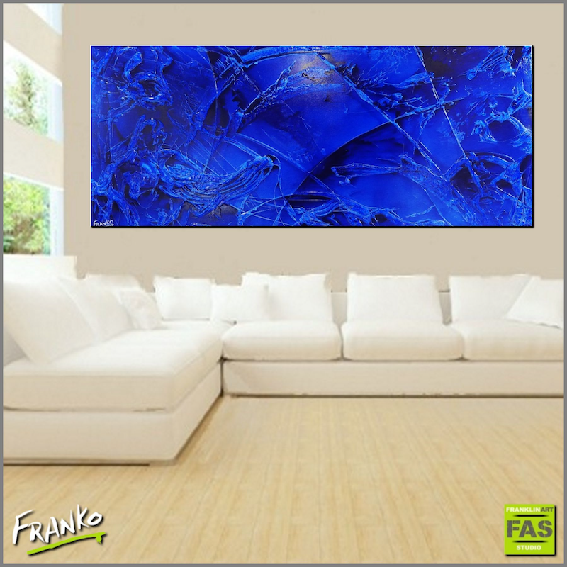 (CreativeWork) Infused Ink Ocean HUGE 240cm x 100cm  Blue Ink Acrylics textured Abstract fluid liquid ocean landscape by _Franko _. arcylic-painting. Shop online at Bluethumb.